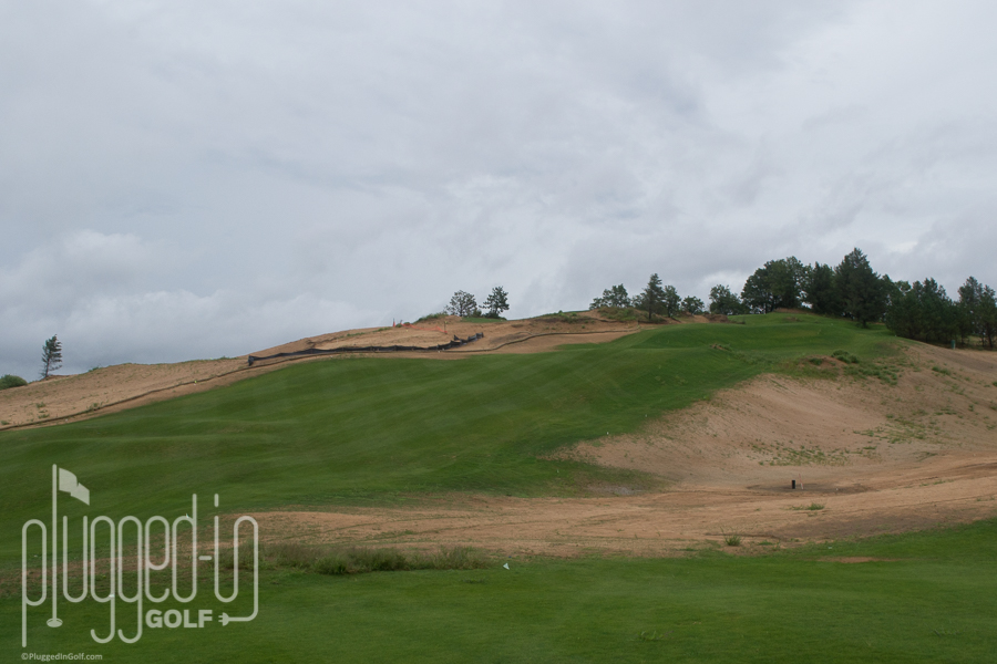 #1 tee looking back from the fairway. Quite a drop!