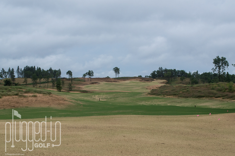 The long, up hill par 5 fourth.