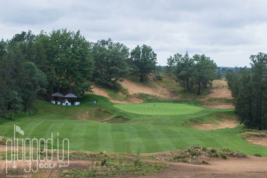 Every play carries risk at the short par 4 ninth hole.