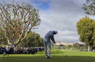 PACIFIC PALISADES, CA - FEBRUARY 19: Dustin Johnson hits a tee shot on the ninth hole during the final round of the Genesis Open at Riviera Country Club on February 19, 2017 in Pacific Palisades, California. (Photo by Stan Badz/PGA TOUR)